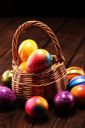 Photo for Basket of Easter eggs on table. colorful easter decoration - Royalty Free Image