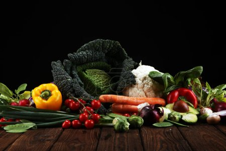 Photo for Composition with variety of raw organic vegetables and fruits. Balanced diet - Royalty Free Image