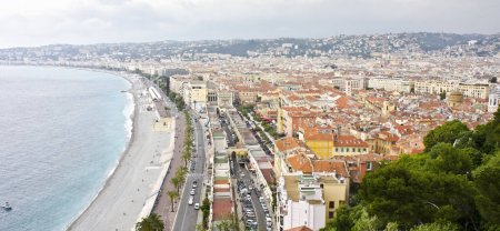 Photo for NICE, FRANCE - JUNE 3: panorama of Promenade des Anglais and city of Nice on June 3, 2013 - Royalty Free Image