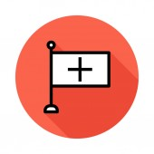 flag with medicine sign flat icon vector illustration