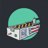 Ghostbusters movie icon A trap for ghosts isolated on green background Vector illustration close-up