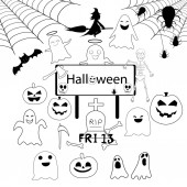 Halloween black and white color vector illustrations