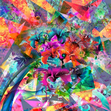 Photo for Abstract magic colorful splashes background with flowers - Royalty Free Image