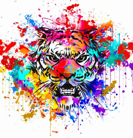 Photo for Wild tiger face tattoo - Royalty Free Image
