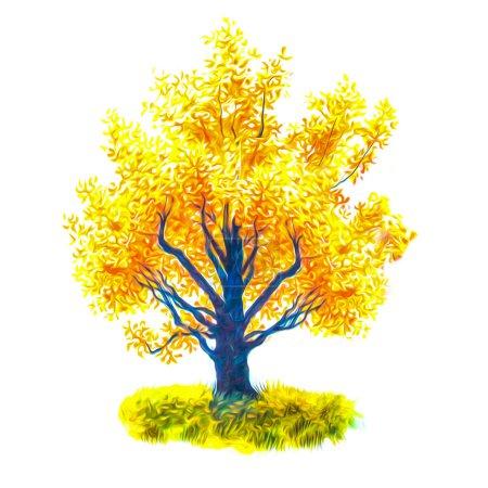 Photo pour Arbre automne jaune feuilles illustration - image libre de droit
