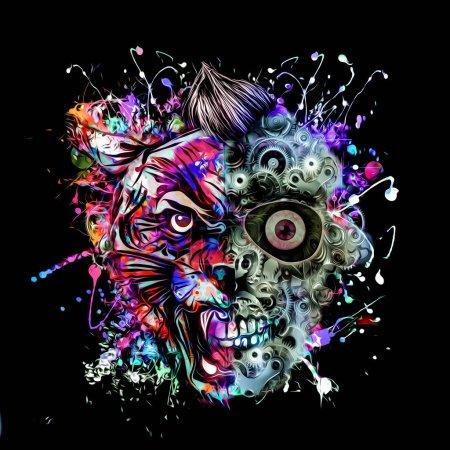 Photo pour Crâne humain fait d'engrenages et de tête de tigre sur fond noir - image libre de droit