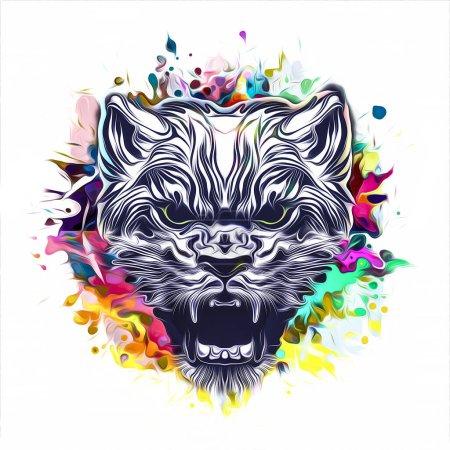 Photo pour Fond grunge avec graffiti et chat peint - image libre de droit