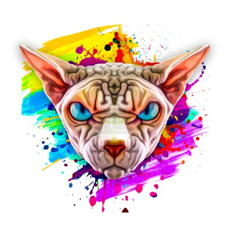 Photo for Abstract colored sphinx face, graphic design illustration - Royalty Free Image