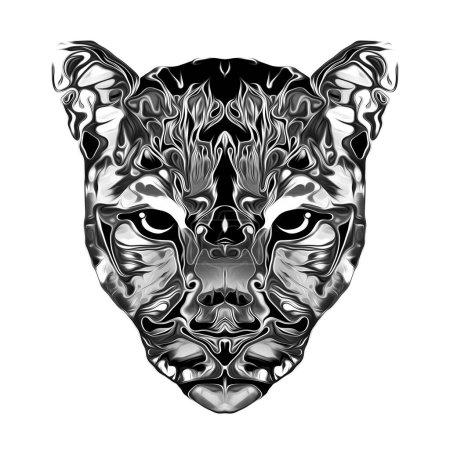 Photo pour Museau léopard artistique monochrome isolé sur fond blanc - image libre de droit