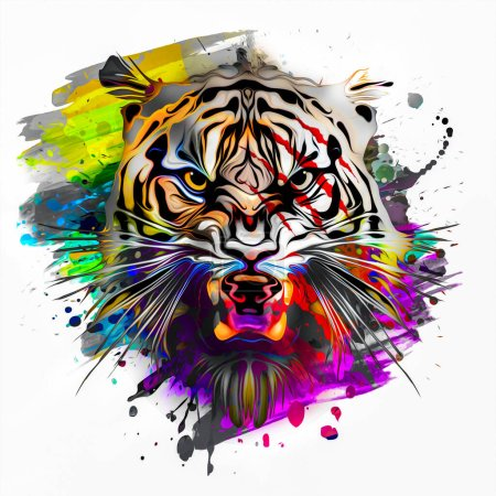 Photo for Tiger head with creative abstract element on white background - Royalty Free Image