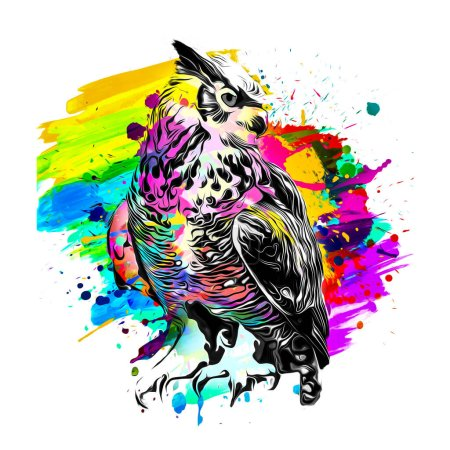 Foto de Fondo abstracto con búho pájaro colorido - Imagen libre de derechos