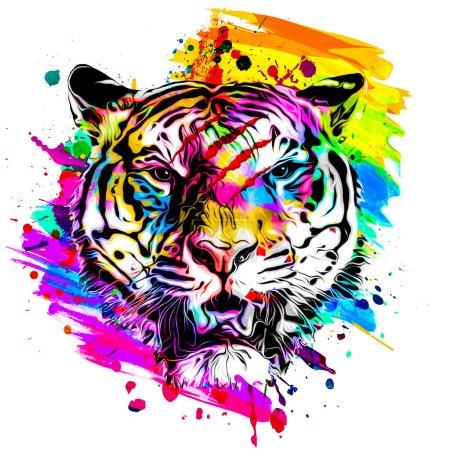 Photo pour Tête de tigre avec élément abstrait créatif sur fond blanc - image libre de droit