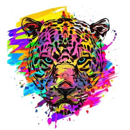 Photo pour Museau artistique abstrait léopard isolé sur fond coloré - image libre de droit