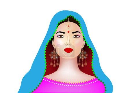 Illustration pour Belle brune indienne jeune femme en sari coloré. Bollywood star de la mode traditionnelle. La tenue de mariée. Illustration vectorielle fond isolé ou blanc - image libre de droit