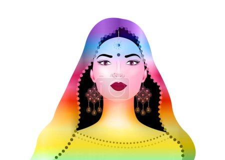 Illustration pour Belle jeune femme brune indienne en sari coloré avec des bijoux en or de luxe. Bollywood star de la mode traditionnelle. Tenue de mariée mariée précieuse. Illustration vectorielle fond isolé ou blanc - image libre de droit