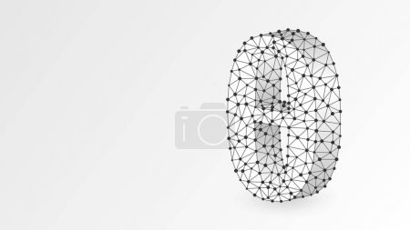 Ilustración de Theta, la letra de un alfabeto griego. Números griegos, concepto matemático número nueve. Abstracto, digital, wireframe, malla de polietileno bajo, ilustración vectorial de origami blanco 3d. Triángulo, punto de línea - Imagen libre de derechos