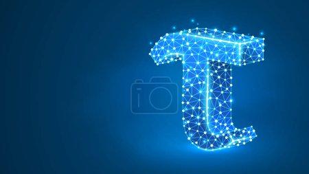 Ilustración de Tau, the letter of a Greek alphabet. Greek numerals, mathematical three hundred number concept. Abstract, digital, wireframe, low poly mesh, vector blue neon 3d illustration. Triangle, line dot - Imagen libre de derechos