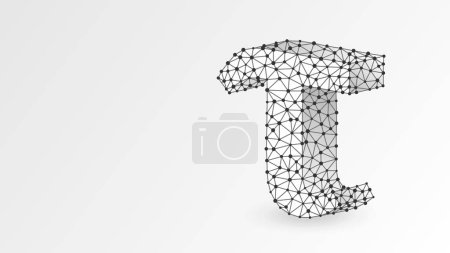 Ilustración de Tau, the letter of a Greek alphabet. Greek numerals, mathematical three hundred number concept. Abstract, digital, wireframe, low poly mesh, vector white origami 3d illustration. Triangle, line dot - Imagen libre de derechos