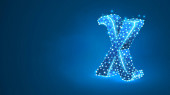 Chi the letter of a Greek alphabet Greek numerals mathematical six hundred number concept Abstract digital wireframe low poly mesh vector blue neon 3d illustration Triangle line dot