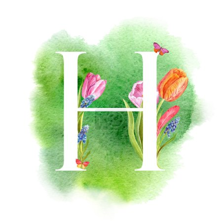 Photo for Letter H. A letter of the alphabet with spring flowers, muscari tulips, for invitations, cards, weddings and more. - Royalty Free Image