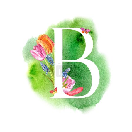 Photo for Letter B. A letter of the alphabet with spring flowers, muscari tulips, for invitations, cards, weddings and more. - Royalty Free Image