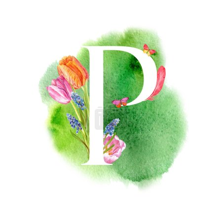 Photo pour Lettre P. Une lettre de l'alphabet avec les fleurs de printemps, tulipes de muscari, d'invitations, cartes, mariages, etc.. - image libre de droit
