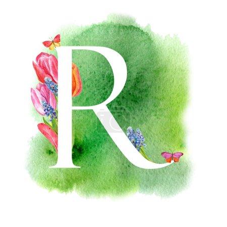 Photo pour Lettre R. Une lettre de l'alphabet avec les fleurs de printemps, tulipes de muscari, d'invitations, cartes, mariages, etc.. - image libre de droit