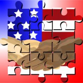 Vector designed jigsaw shows  black and white human shake-hand with USA national flag background on Martin Luther King Jr Day (MLK day) It means friendship and stop racism