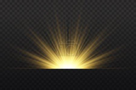 Transparent shining sun, bright flash. Yellow glow...