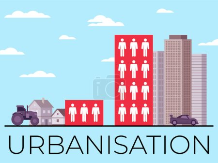 Illustration for This colorful illustration depicts urbanization, the process of increasing the urban population and reducing the population in villages - Royalty Free Image