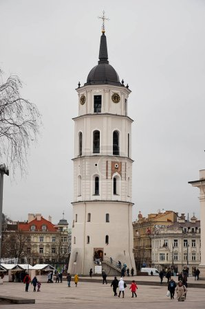 Lithuania. Vilnius. Belltower of St. Stanislaus Cathedral in the Cathedral Square in Vilnius. January 3, 2018