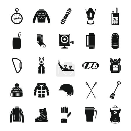 Snowboard equipment winter icons set, simple style