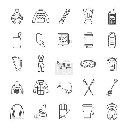 Snowboard equipment icons set, outline style