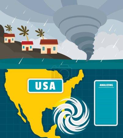 Illustration for Hurricane storm tornado damage banner concept set. Flat illustration of 2 hurricane storm tornado damage vector banner horizontal concepts for web - Royalty Free Image