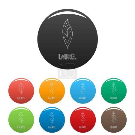 Laurel leaf icons set color vector