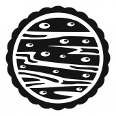 Nuts on cake icon simple style