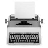White typewriter mockup realistic style