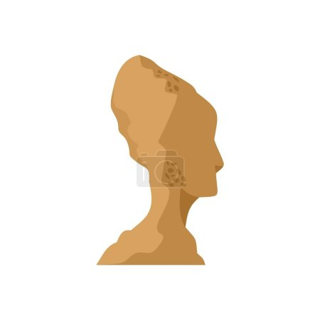Head of statue icon, flat style