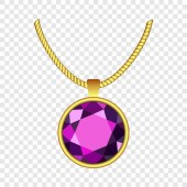 Amethyst necklace icon realistic style