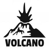 Erupting volcano logo simple style