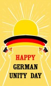 Happy german unity day vertical banner hand drawn style