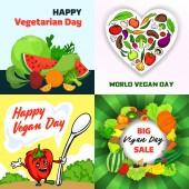 Vegan day banner set cartoon style