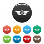 Military patrol icons set color