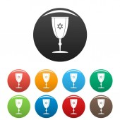 Judaism cup icons set color