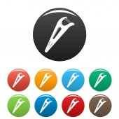 Dental floss tool icons set color
