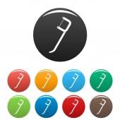 Dental pick icons set color