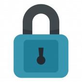Plastic padlock icon flat style