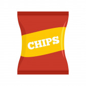 Red chips pack icon flat style
