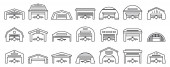 Airport hangar icons set outline style