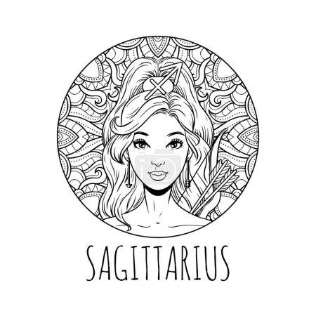 Illustration pour Sagittaire signe du zodiaque illustration, page de livre de coloriage pour adultes, belle fille symbole horoscope, illustration vectorielle - image libre de droit